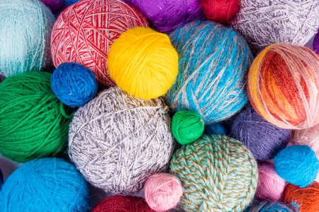 Yarn for knitting. colorful wool yarn balls Stock Photo