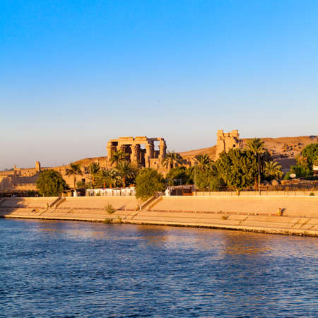 Kom Ombo temple, Egypt. temple at sunset on the Nile in Egypt