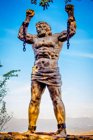 unbound: SOCHI, RUSSIA - OCTOBER  22, 2016: Statue of Unbound Prometheus with Broken Chain on the Eagle Rocks in the Caucasus Editorial