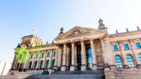 BERLIN, GERMANY -MARCH 19 2015 : Reichstag building, seat of the German Parliament (Deutscher Bundestag), in Berlin, Germany