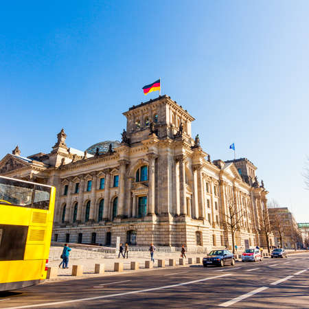 congress center: BERLIN, GERMANY -MARCH 19 2015 : Reichstag building, seat of the German Parliament (Deutscher Bundestag), in Berlin, Germany