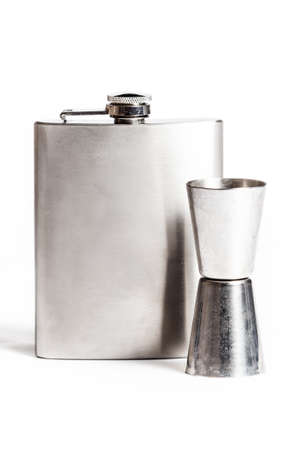 Hip flask and cups  isolated on white Stok Fotoğraf
