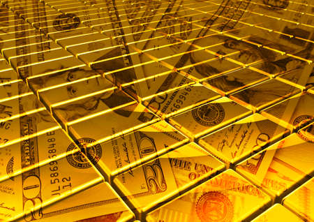 dollar banknote and gold. finance concept