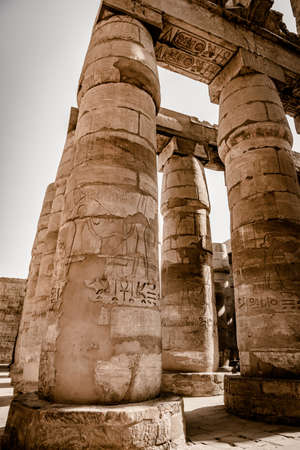 Columns in the Hypostyle hall of the Temple of Karnak, Luxor, Egypt