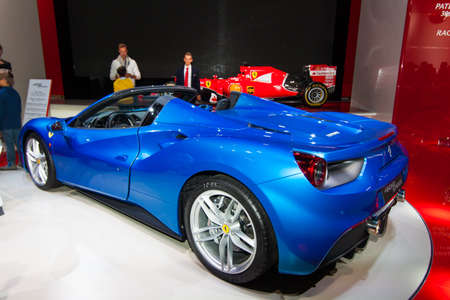 FRANKFURT, GERMANY - SEPTEMBER 23, 2015: Frankfurt international motor show (IAA) 2015. Ferrari 488 GTS Spider.