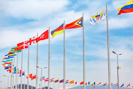 flagstaff: Flags of countries. different countries on the flagpole