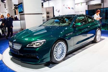 FRANKFURT, GERMANY - SEPTEMBER 23, 2015:  Alpina B6 Bi-Turbo presented on the 66th International Motor Show in the Messe Frankfurt. BMW ALPINA B6 Bi-Turbo Edition 50 Coupe