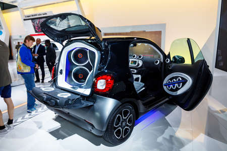 FRANKFURT - SEPTEMBER 22, 2015:  The Smart Fortwo and Forfour  at the 66th IAA (Internationale Automobil Ausstellung) on September 22, 2015 in Frankfurt, Germany