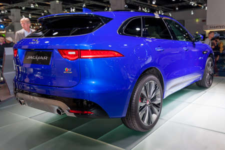 sedan: fRANKFURT, GERMANY - 23 SEPTEMBER, 2015:  Jaguar F-PACE - world premiere. Frankfurt international motor show Editorial