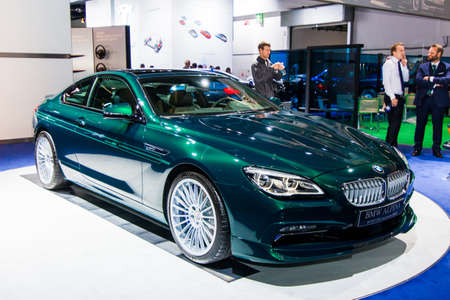 FRANKFURT, GERMANY - SEPTEMBER 23, 2015:  Alpina B6 Bi-Turbo presented on the 66th International Motor Show in the Messe Frankfurt. BMW ALPINA B6 Bi-Turbo Edition 50 Coupe
