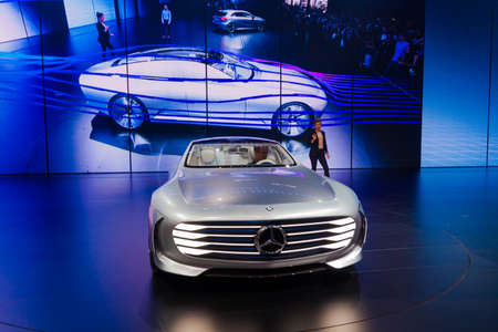 FRANKFURT - SEPTEMBER 23: Mercedes-Benz Concept IAA shown at the 66th IAA on September 23, 2015 in Frankfurt, Germany.(Intelligent Aerodynamic Automobile) - world premiere