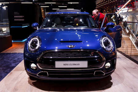 FRANKFURT, GERMANY - SEPTEMBER 23, 2015:  MINI Clubman presented on the 66th International Motor Show