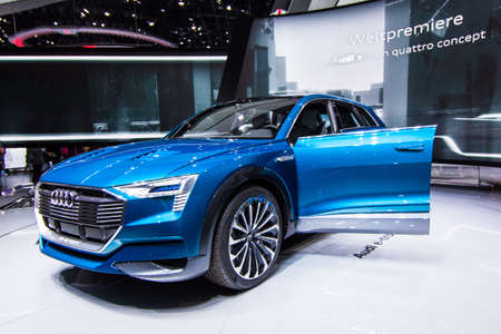 FRANKFURT, GERMANY - September 23, 2015: Audi e-tron quattro concept presented on the 66th International Motor Show in the Messe Frankfurt Editorial