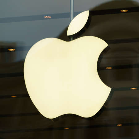 DUSSELDORF, GERMANY - APRIL  14, 2017: Apple sign on the Apple store in Dusseldorf. Apple is an American multinational technology company headquartered in Cupertino, California