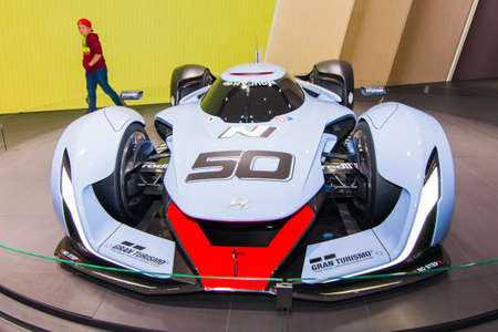 FRANKFURT, GERMANY - September 23, 2015:  Hyundai N 2025 Vision Gran Turismo presented on the 66th International Motor Show in the Messe Frankfurt