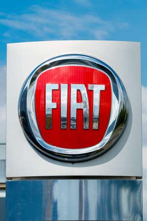GERMANY, MOENCHENGLADBACH -APRIL 16, 2017: Logotype of Fiat corporation. Fiat company logo on dealership building Editorial