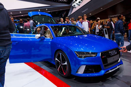 FRANKFURT - SEPTEMBER 22, 2015: Audi shown at the 66th IAA (Internationale Automobil Ausstellung) on September 22, 2015 in Frankfurt, Germany Editorial