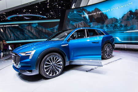 sportcar: FRANKFURT, GERMANY - September 23, 2015: Audi e-tron quattro concept presented on the 66th International Motor Show in the Messe Frankfurt Editorial