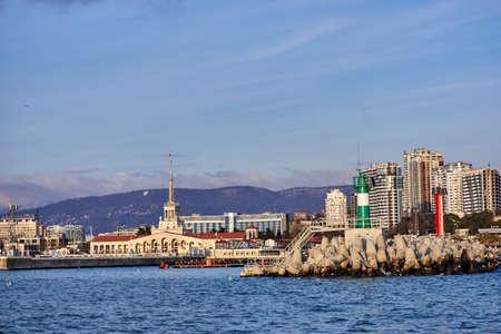complex navigation: View of seaport in Sochi. RUSSIA Editorial