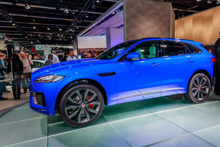fRANKFURT, GERMANY - 23 SEPTEMBER, 2015:  Jaguar F-PACE - world premiere. Frankfurt international motor show Editorial