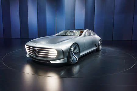 "FFRANKFURT - SEPTEMBER 23: The Mercedes-Benz ""Concept IAA"" (Intelligent Aerodynamic Automobile) September 23, 2015 in Frankfurt, Germany"