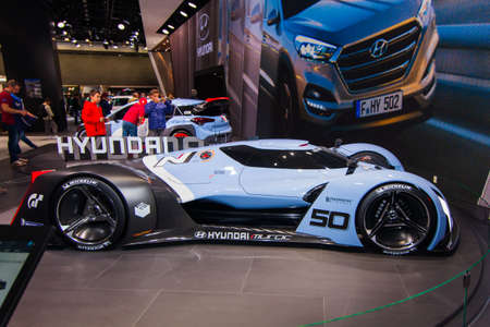 aspirational: FRANKFURT, GERMANY - September 23, 2015:  Hyundai N 2025 Vision Gran Turismo presented on the 66th International Motor Show in the Messe Frankfurt