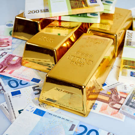 Gold bars, Financial, business investment concept. Gold Bars. Euro Money Stock Photo