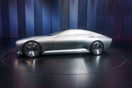 "FFRANKFURT - SEPTEMBER 23: The Mercedes-Benz ""Concept IAA"" (Intelligent Aerodynamic Automobile) September 23, 2015 in Frankfurt, Germany Editorial"