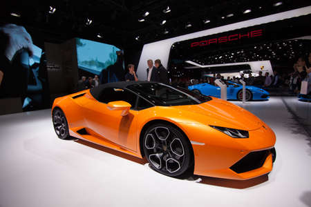 FRANKFURT, GERMANY - SEPTEMBER 23, 2015: Frankfurt international motor show (IAA) 2015. Lamborghini Huracan Editorial