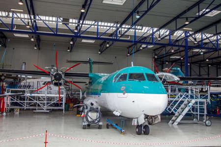 aircraft in the hangar.