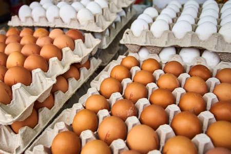 eggs market. fresh eggs Stock Photo