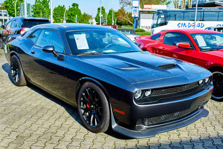 MOENCHENGLADBACH, GERMANY - APRIL 30, 2017: Dodge Challenger SRT sports car. The Dodge Challenger is the name of three different generations of American automobiles produced by Dodge