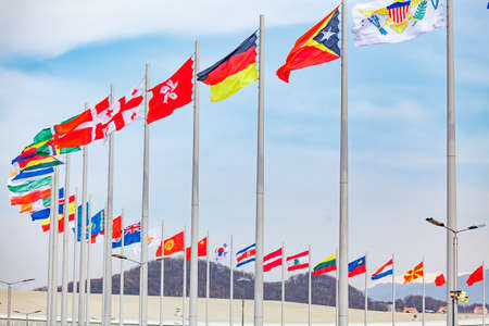formula one: Flags of countries. different countries on the flagpole