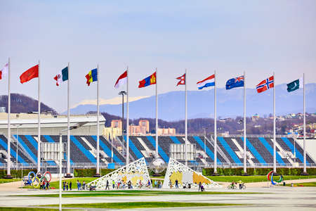 Sochi, Russia, March 11, 2017: Olympic park landscape. Objects and Attractions Editorial