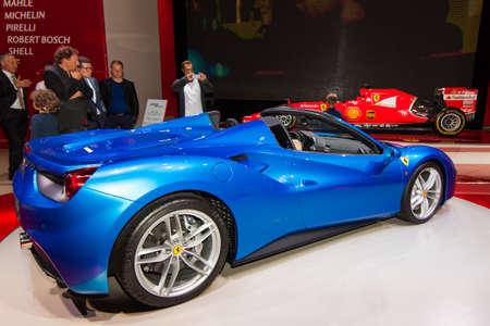 FRANKFURT, GERMANY - SEPTEMBER 23, 2015: Frankfurt international motor show (IAA) 2015. Ferrari 488 GTS Spider.