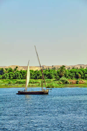 boat on the Nile River. Egypt Stock Photo