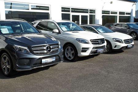 manufacturer: MOENCHENGLADBACH, GERMANY - APRIL 30, 2017: Mercedes Benz showroom. Mercedes-Benz is a German automobile manufacturer Editorial