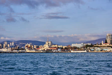 complex navigation: View of seaport in Sochi. RUSSIA Stock Photo