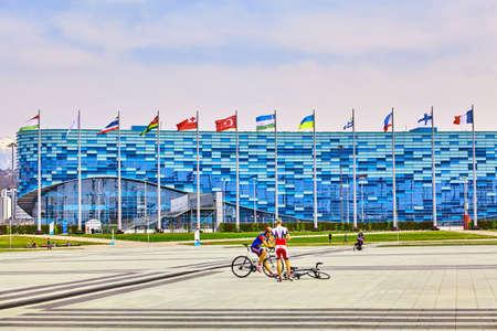Sochi, Rusland, 11 maart 2017: Olympisch park landschap. Voorwerpen en attracties