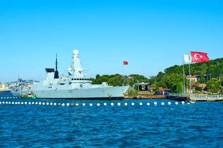 ISTANBUL, TURKEY -JULY 10 2017: Natos ships  arrive to Istanbul. Stock Photo