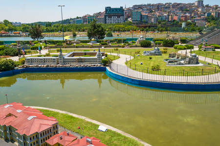 ISTANBUL, TURKEY - 12 JULY, 2017: Miniaturk is a miniature park in Istanbul, Turkey. The park contains 122 models. Panoramic view of Miniaturk Stock Photo