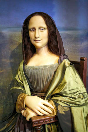 Amsterdam, Netherlands - September 05, 2017: Wax figur of The Mona Lisa or La Gioconda, in Madame Tussauds museum in Amsterdam Editorial