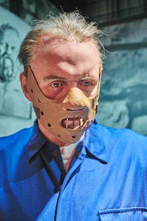 암스테르담, 네덜란드 - 2017 년 9 월 5 일 : 한니발 렉터 (Hannibal Lecter), 암스테르담의 마담 투소 박물관 (Madame Tussauds wax museum)