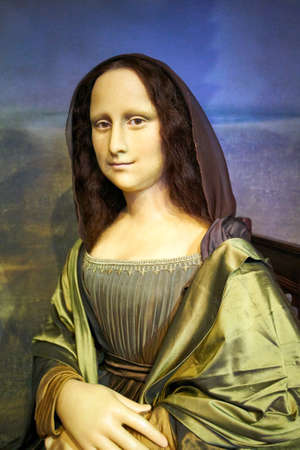 Amsterdam, Netherlands - September 05, 2017: Wax figure of The Mona Lisa or La Gioconda, in Madame Tussauds museum in Amsterdam