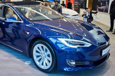 Dusseldorf, Germany - September 09, 2017: Electric car  Tesla  in a Tesla Motors store in Dusseldorf, Germany Editorial