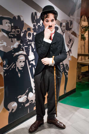 Amsterdam, Netherlands - September 05, 2017: Wax figure of Sir Charles Spencer Charlie Chaplin, English comic actor in Madame Tussauds Wax museum in Amsterdam, Netherlands