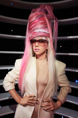 gaga: Amsterdam, Netherlands - September 05, 2017: Lady Gaga wax statue in Madame Tussauds museum  in Amsterdam Netherlands