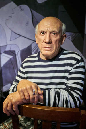 Amsterdam, Netherlands - September 05, 2017: Pablo Picasso, Spanish painter, sculptor, printmaker, Madame Tussauds wax museum in Amsterdam