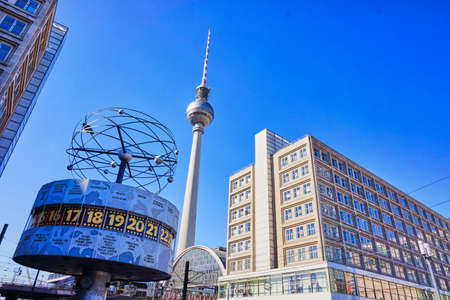 BERLIN, GERMANY - MARCH 17, 2015: Famous World Clock located in Alexanderplatz in Berlin, Germany Editorial
