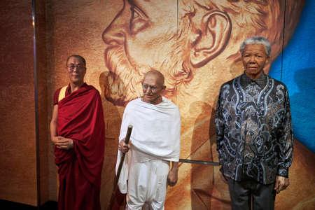 Amsterdam, Netherlands - September 05, 2017: Ghandi, Nelson Mandela, Dalai Lama Madame Tussauds wax museum in Amsterdam